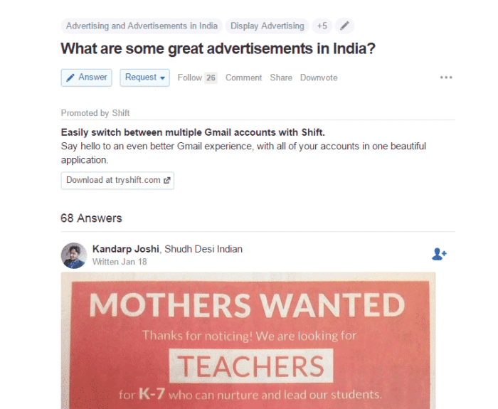 quora business model promoted content