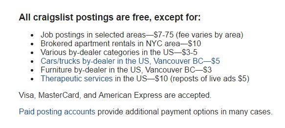 how does craigslist make money fees
