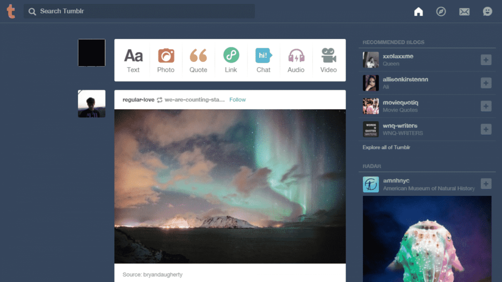 tumblr dashboard tumblr business model