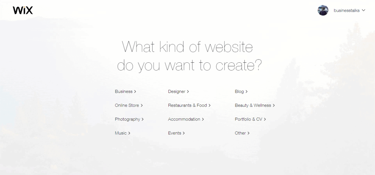 wix create website 1