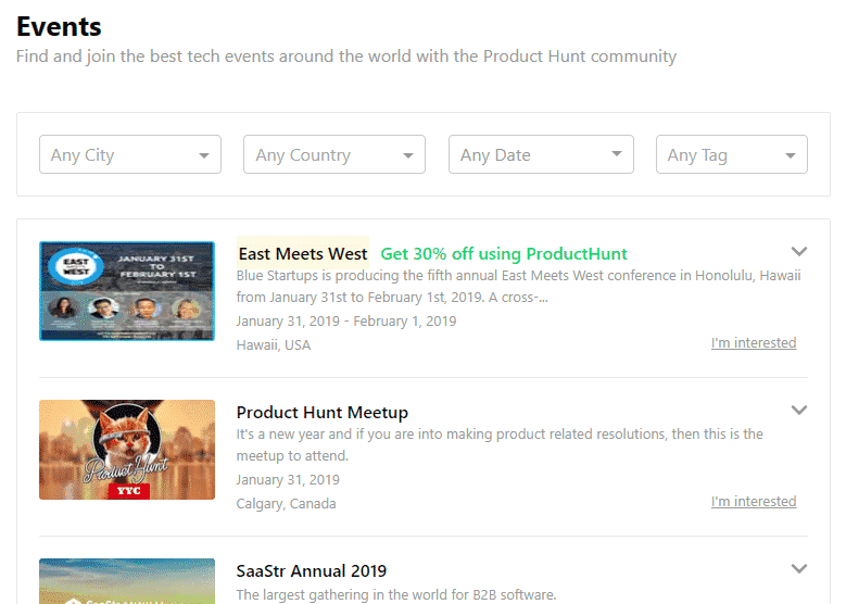 promoted events product hunt