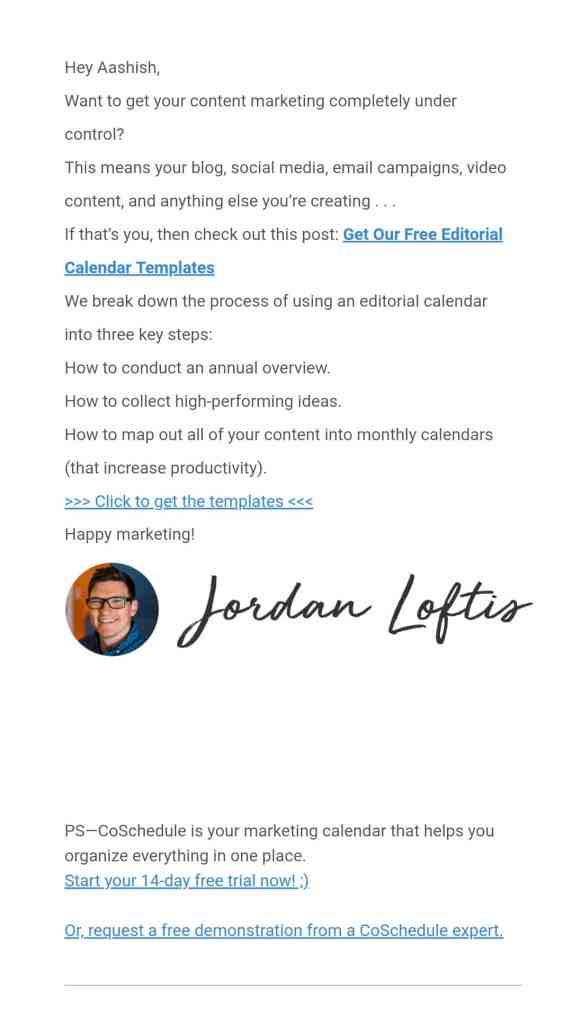 Coschedule email