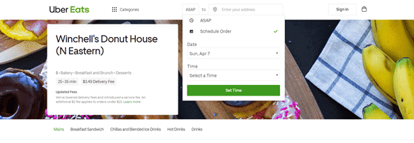 uber eats schedule time