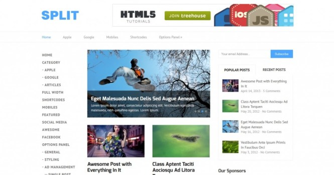 Split wordpress theme