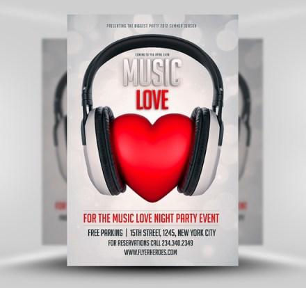 free music lover club flyer template