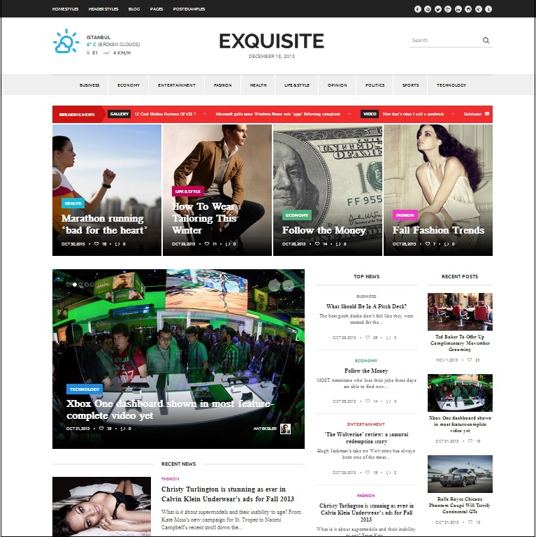Exquisite wordpress theme