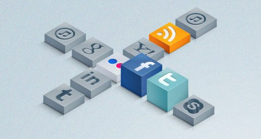 Isometric 3D Social Icons Set.
