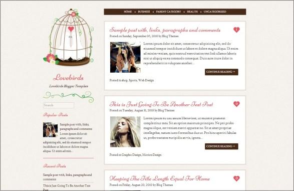 Lovebirds Blogger Template