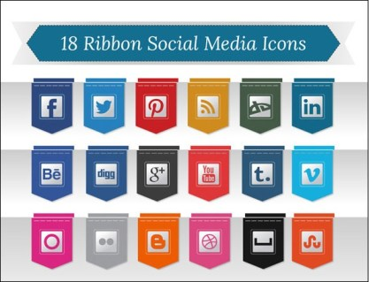 Ribbon Social Media Icons