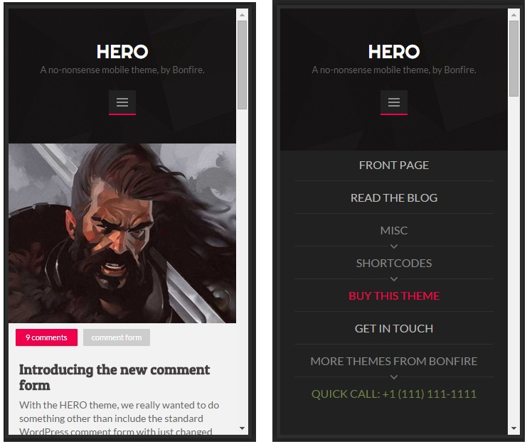 Hero mobile wordpress theme