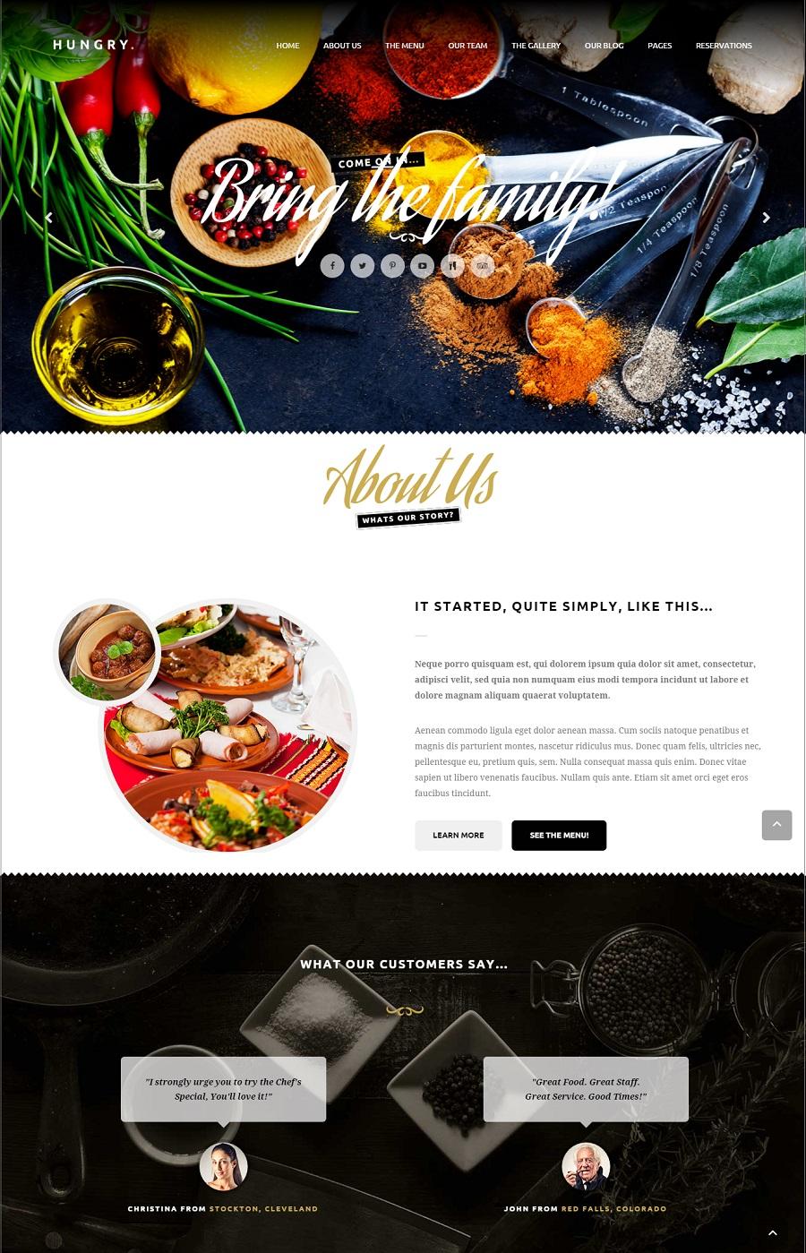 hungry restaurant wordpress theme