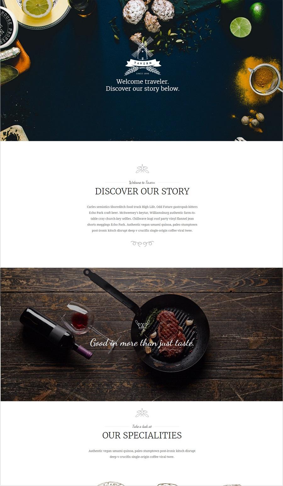 tavern restaurant wordpress theme