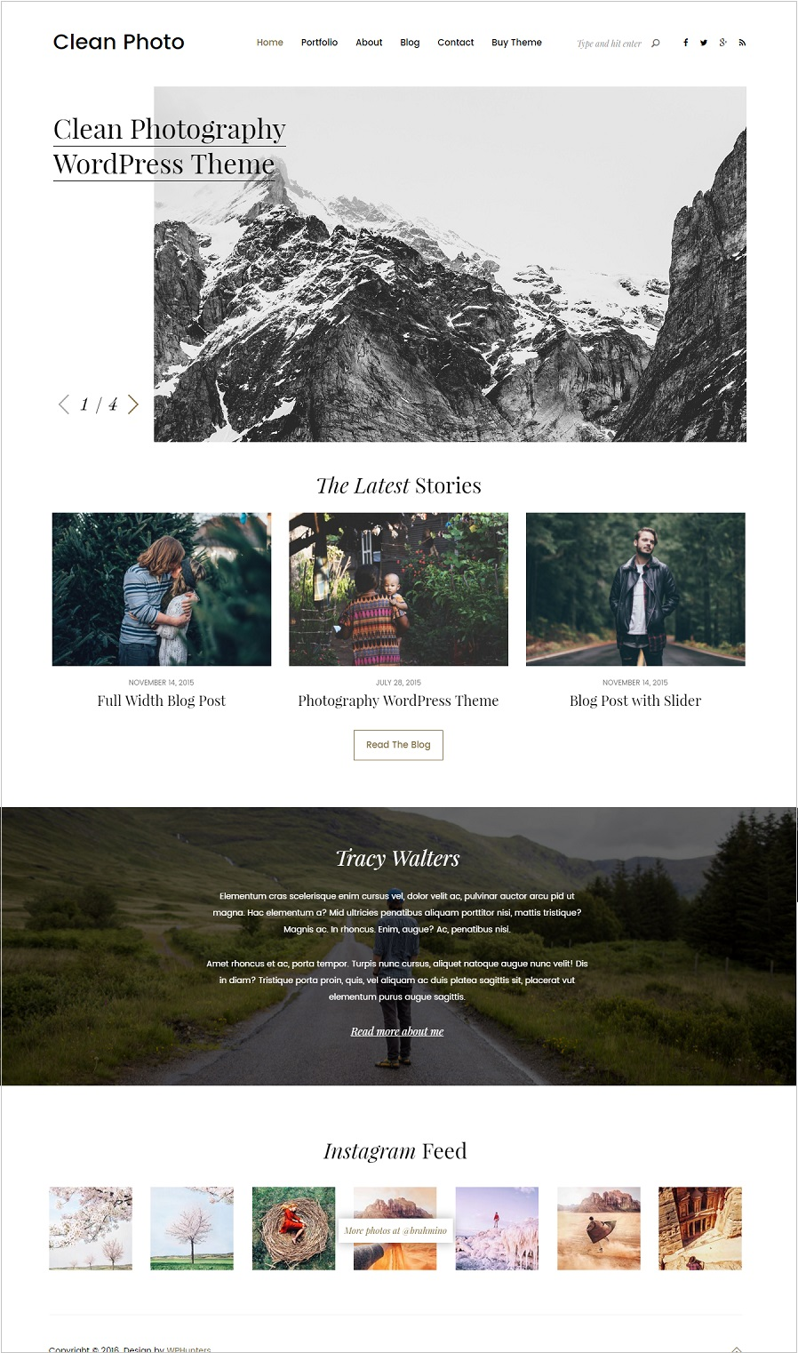 Clean Photo theme is a responsive modern photography WordPress theme