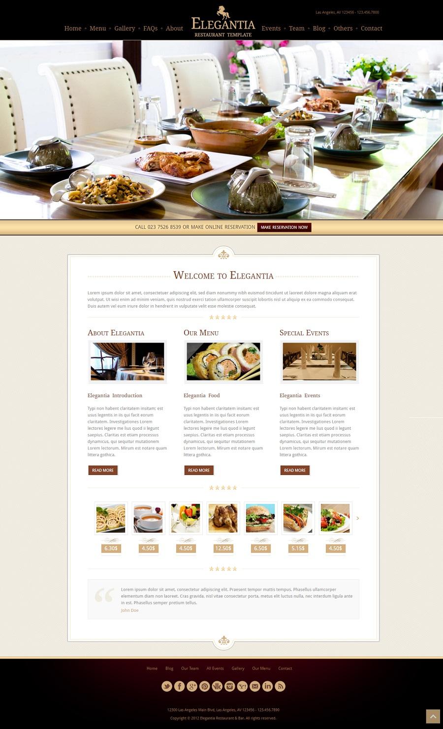 Elegantia restaurant wordpress theme