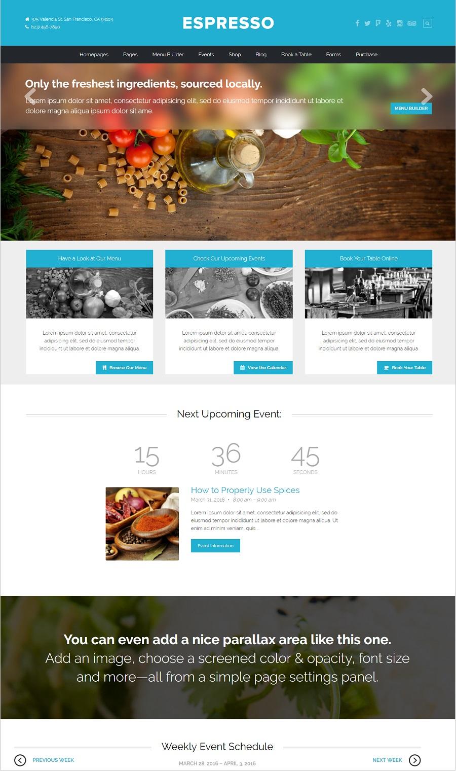 Espresso restaurant wordpress theme