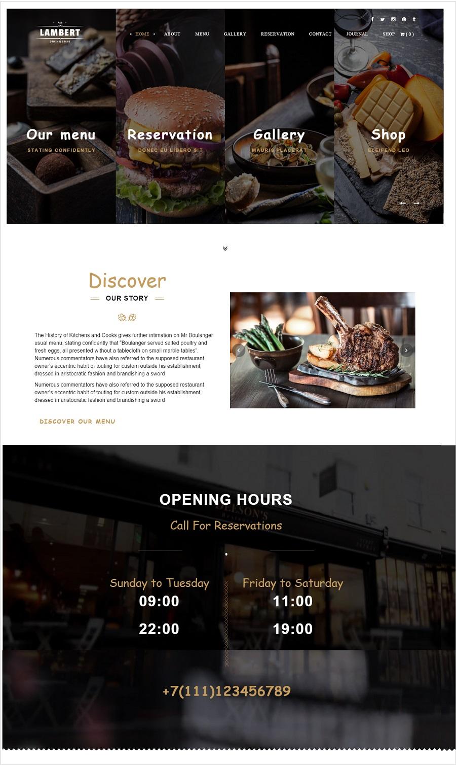 lambert restaurant wordpress theme