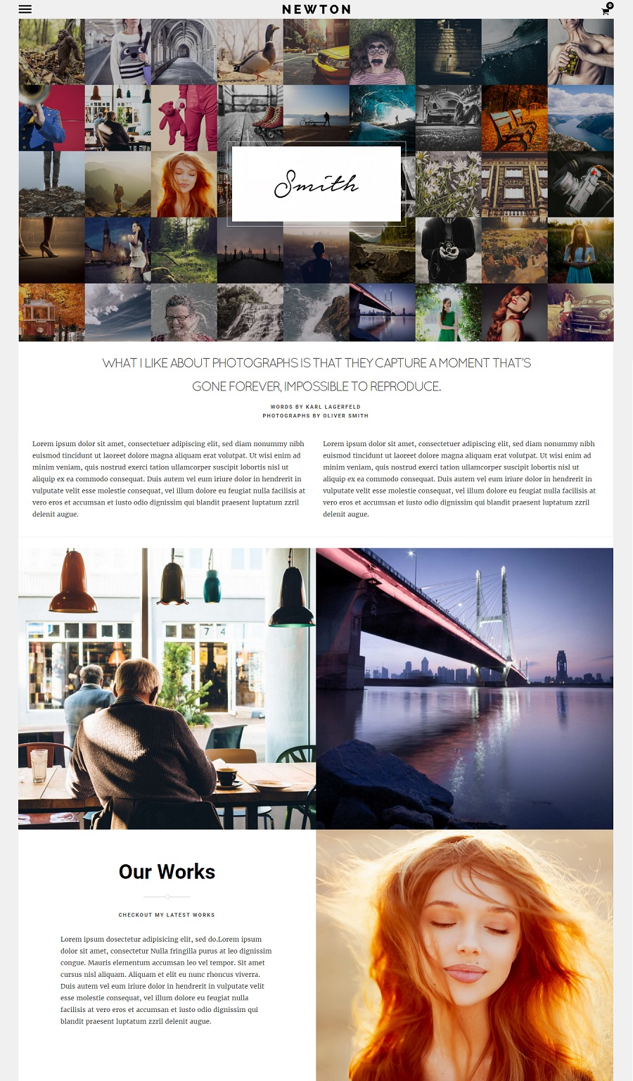 Newton photography wordpress theme