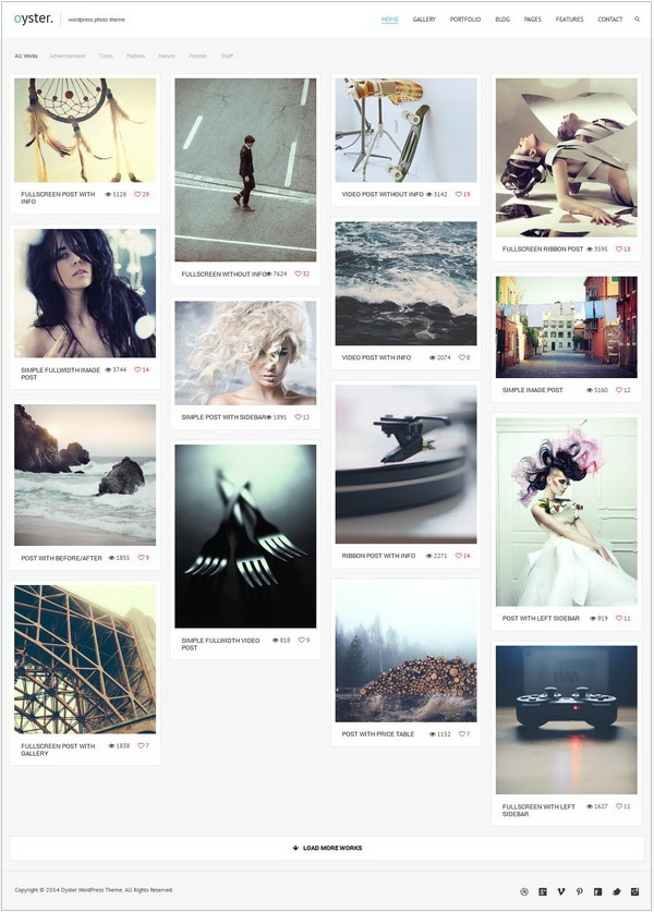 Oyster photography wordpress theme