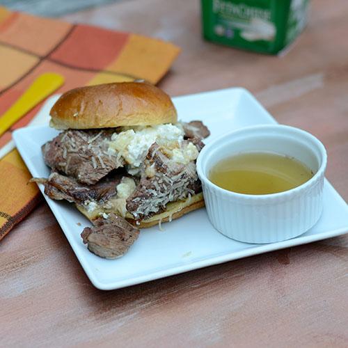 Lamb Philly Cheesesteak, parmesan, feta, skillet, baking, bun, au jus