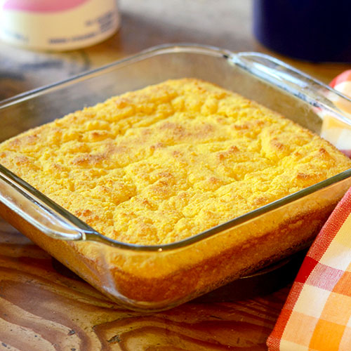 Corn Bread, yougrt, corn meal, flour, sugar, baking soda, salt, eggs