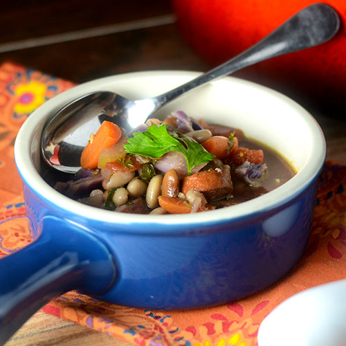 """Farmhouse Cabbage Soup #soup #beans #sausage / feedyoursoul2.com"""
