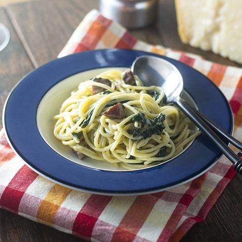 Spaghetti Salami e Pepe from Feed Your Soul Too