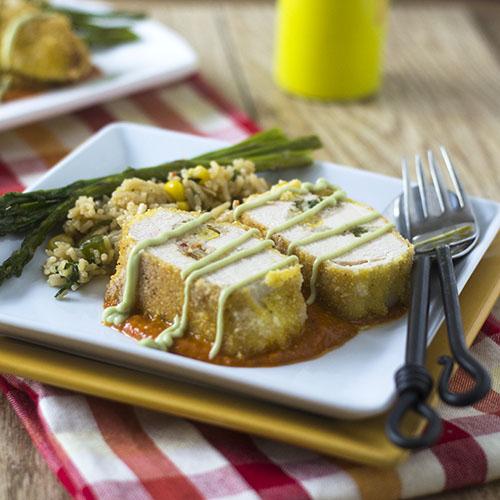 Mexican Risotto Stuffed Chicken Milanese #glutenfree #dinner #chickenrecipes   feedyoursoul2.com