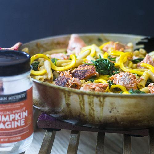 Salmon Pumpkin Curry Pasta
