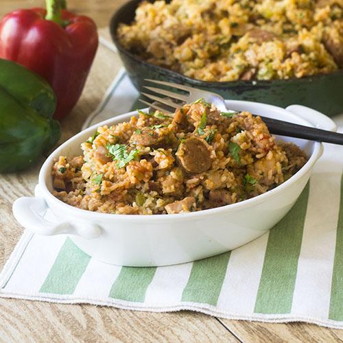 Pressure Cooker Chicken Sausage Jambalaya from Feed Your Soul Too