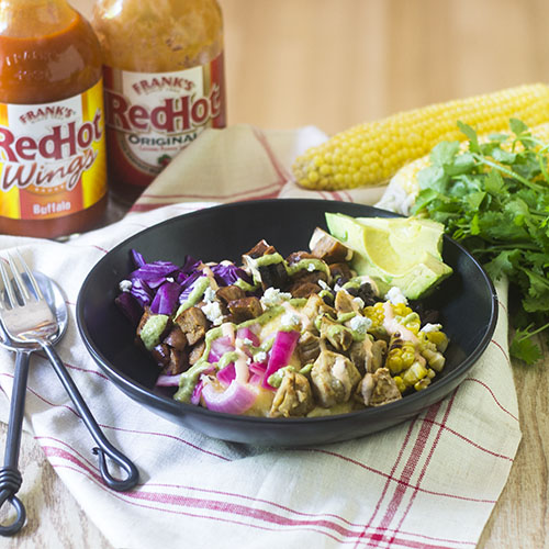 Franks RedHot Sauce Chicken Burrito Bowl from Feed Your Soul Too