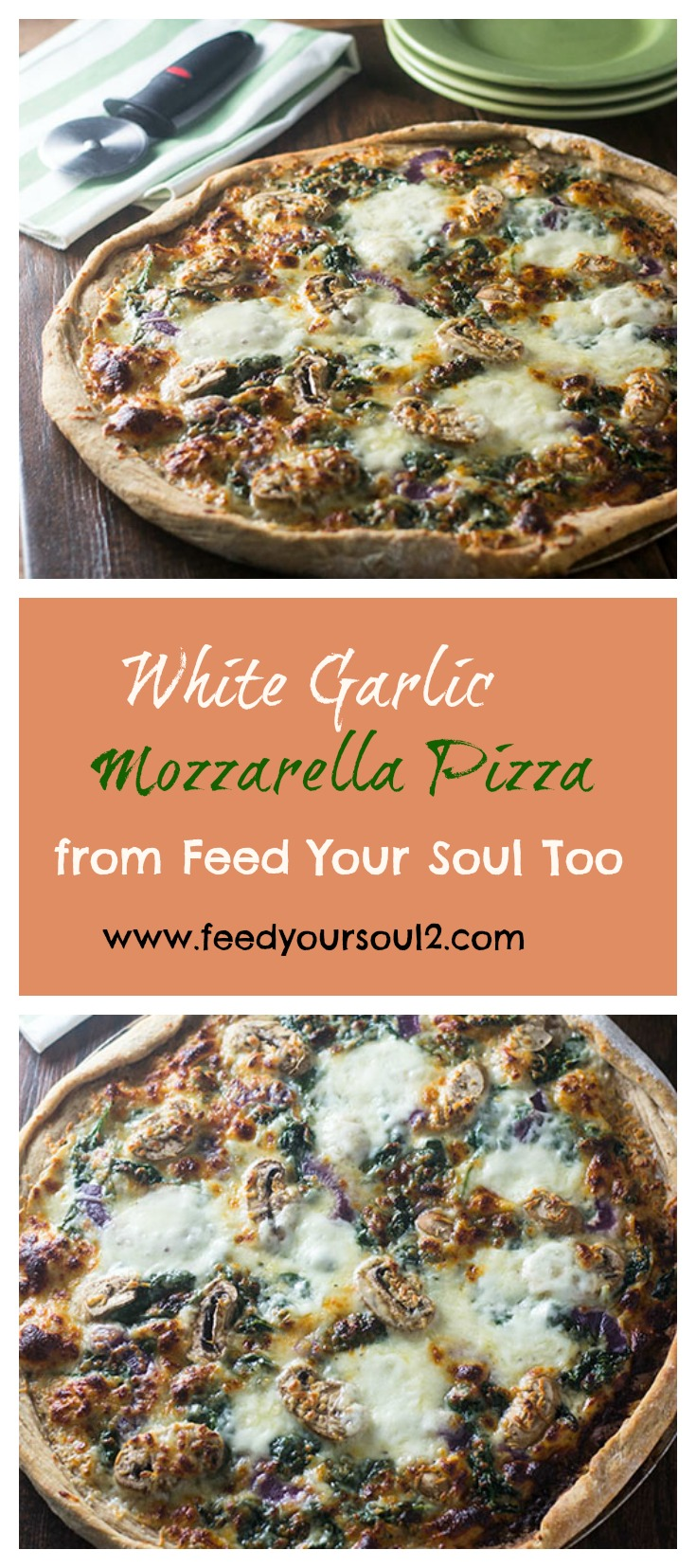 White Garlic Mozzarella Pizza #dinner #vegetarian #garlic #pizza | feedyoursoul2.com