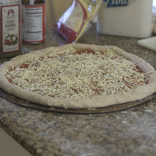 Garlic, Pizza Sauce and Cheese Added to Pizza