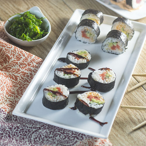Spicy Salmon Maki Rolls from Feed Your Soul Too