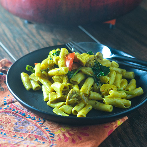 Yellow Curry Chicken Pasta from Feed Your Soul Too