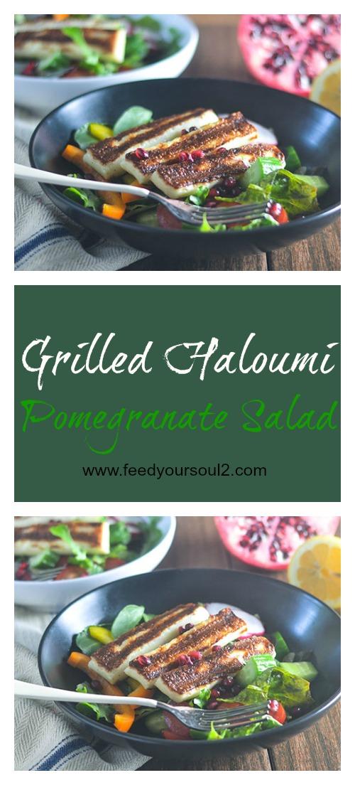 Grilled Haloumi Pomegranate Salad #salad #cheese #healthyfood | feedyoursoul2.com