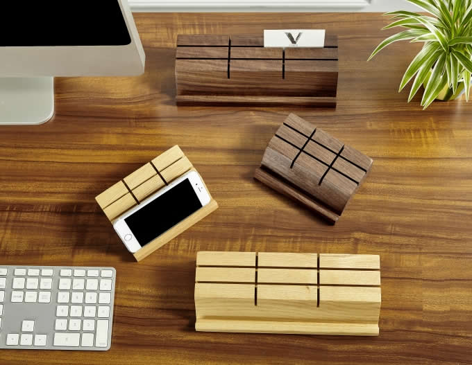Wooden Business Card Holder Mobile Phone IPad Holder Stand