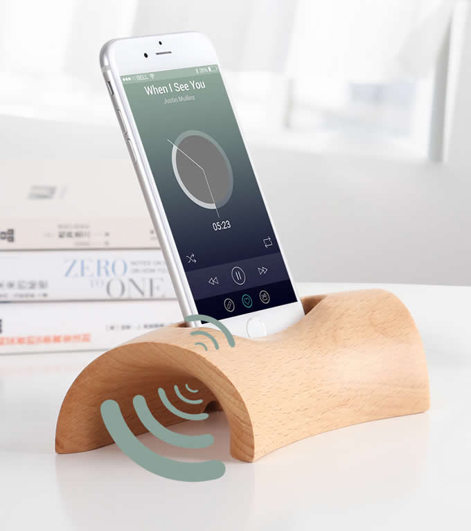 Wooden Cell Phone Charging Dock Sound Amplifier Wooden