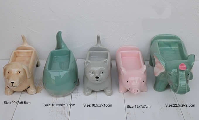 Ceramic Animal Paper Clip Holder With Mobile Phone Holder