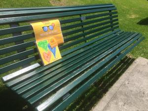 This is an image of a FGF painting 2015 left on a bench