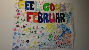 This is an image of a colourful Feel Good February banner painted by RLOA clients