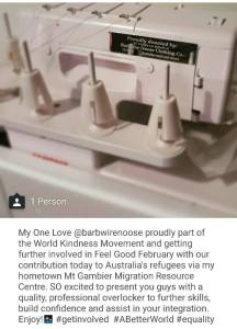 This is an image of a donated sewing machine from Barbwire Noose to the Mt Gambier Migration Resource Centre.