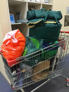 This is an image of a trolley full of Winter Care Kits collected from Forestville Library