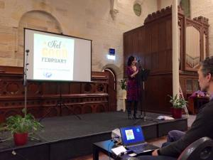 This is an image of Linda Pang speaking at the Lightworkers Initiative