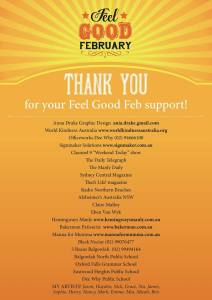 This is the image for a Thank You poster for Feel Good Feb Swap on The Corso, Manly