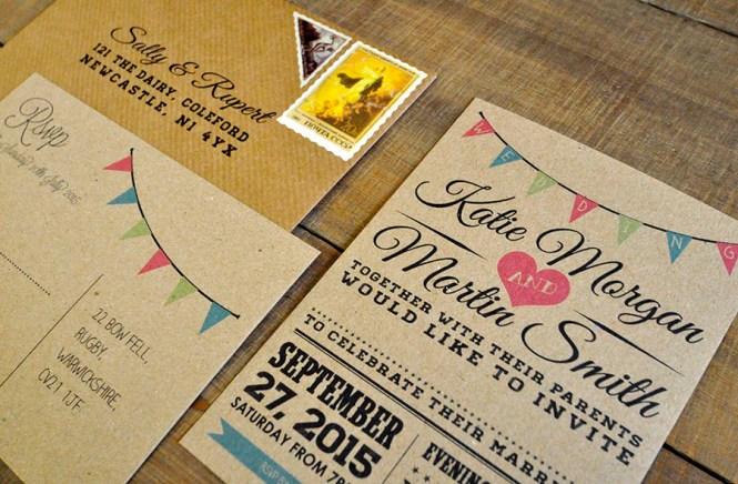 Vintage Bunting Kraft Wedding Invitation Feel Good