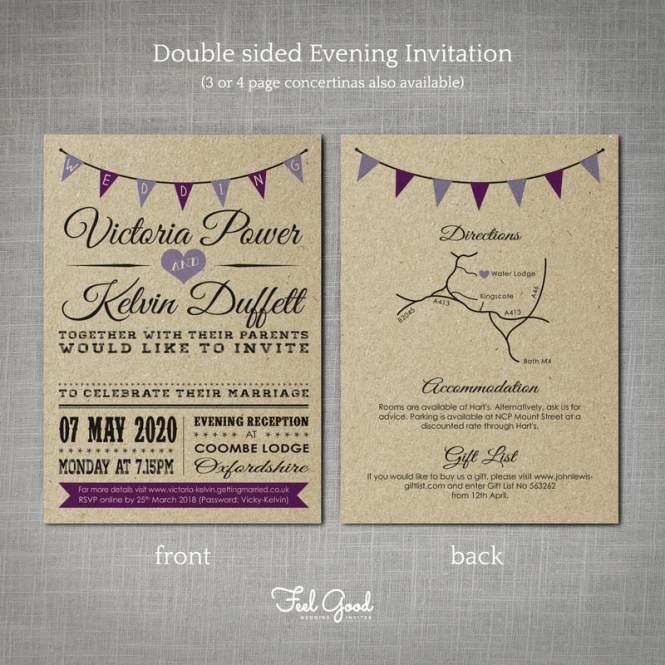 Kraft Concertina Wedding Invitation