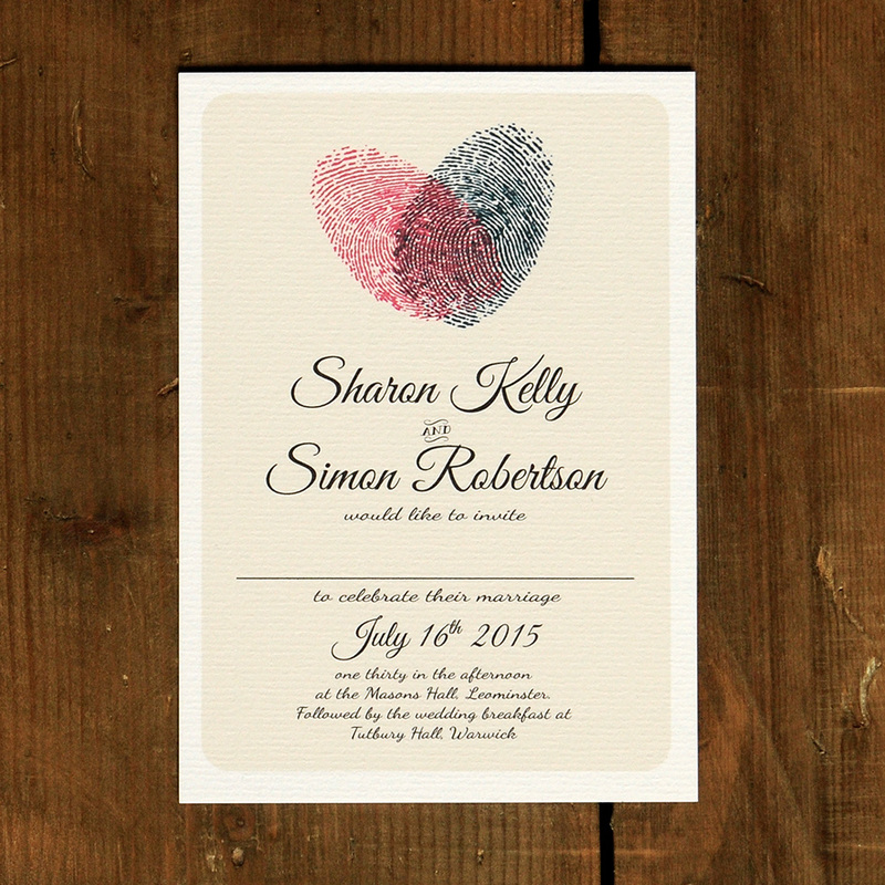 Fingerprint Heart Wedding Invitation Feel Good Wedding