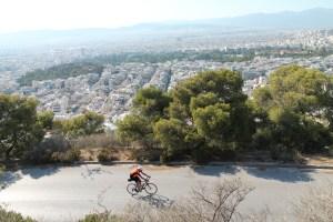 Llegada a Atenas en bicicleta