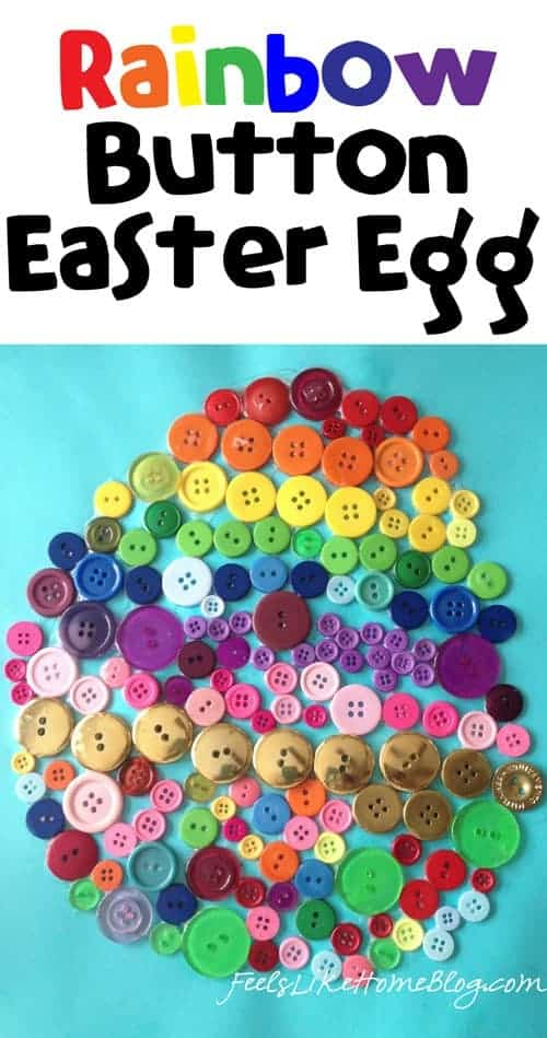 Rainbow Button Easter Egg Craft for Kids - Easy art project for families and children