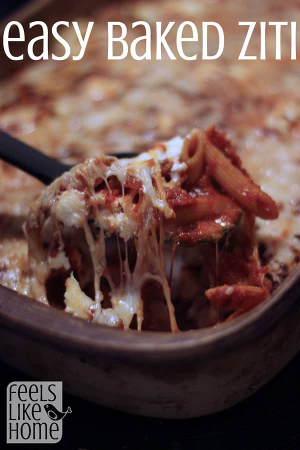 This easy baked ziti recipe will leave everyone wanting more! It's simple and easy to throw together, and it is sure to please even the pickiest eaters!